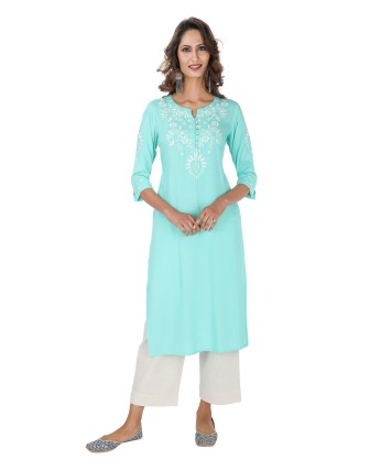 Suti Womens Rayon Slub Embroidered Straight Kurti, Aqua