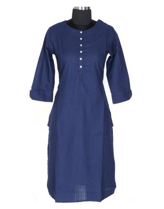 Suti Womens Cotton Straight Fit Kurti, Navy Blue