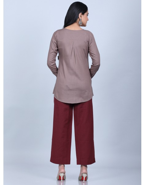 Suti Women's Solid Gathered Top With Culottes, KASHISH