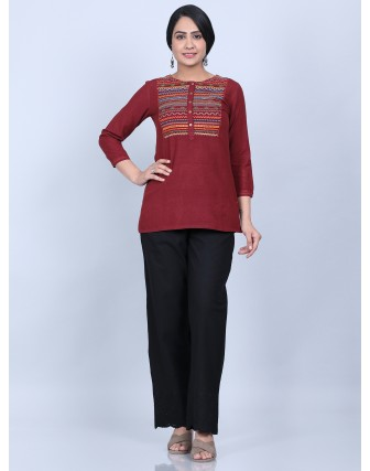 Suti Women's Rayon Embroided Top With Trouser, MAROON