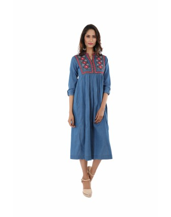 Suti Womens embroidered Mirror Work Denim Dress, Denim