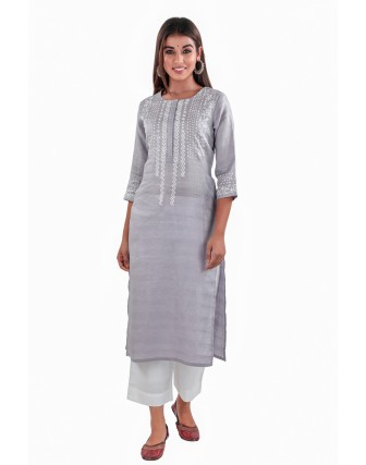 SUTI RAYON HAND BLOCK PRINTED STRAIGHT FIT KURTI
