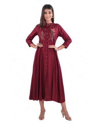 SUTI RAYON EMBROIDERED A-LINE DRESS, MAROON