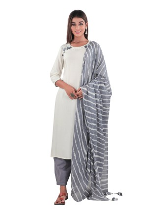 SUTI WOMENS RAYON EMBROIDED LONG KURTI, WHITE/GRAY