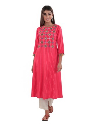 SUTI RAYON FLEX EMBROIDERED PRINTED A LINE KURTI