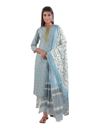 SUTI COTTON PRINTED KURTI PANT AND DUPATTA SET, DUSK BLUE