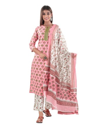 SUTI COTTON PRINTED KURTI PANT AND DUPATTA SET, CONCH SHELL