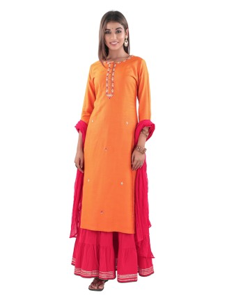 TC SLUB STRAIGHT KURTI WITH ADDA WORK, ORANGE