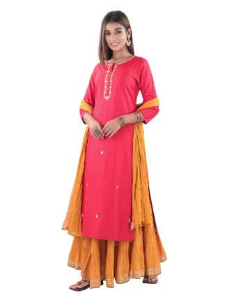 TC SLUB STRAIGHT KURTI WITH ADDA WORK, RED