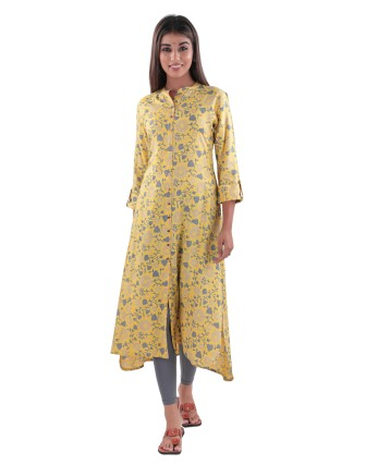 SUTI RAYON SLUB HIGH - LOW PRINTED A LINE DRESS