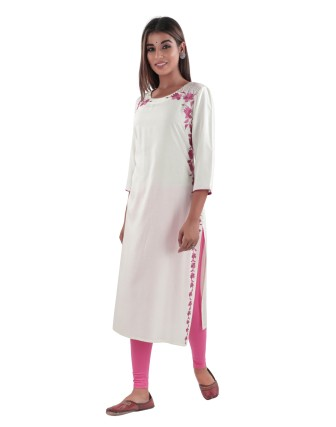 SUTI WOMENS RAYON EMBROIDED LONG KURTI, OFF WHITE/PINK