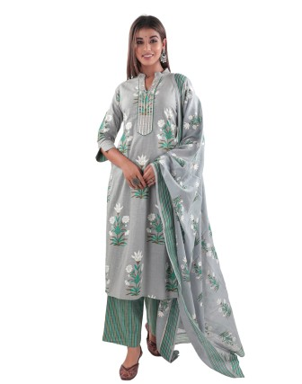 SUTI COTTON SLUB PRINTED KURTA SET STRAIGHT FIT COMBO