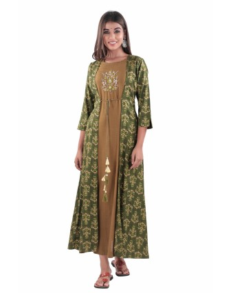 SUTI PRINTED RAYON SLUB ADDA WORK A-LINE DOUBLE LAYER KURTI, PESTO