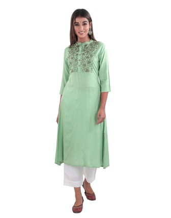 SUTI RAYON SLUB MIRROR EMBROIDERED A LINE KURTI, GREENGAGE