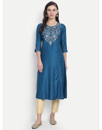 Anagh Womens Tc Slub Pittan Work A Line Kurti Moroccon Blue