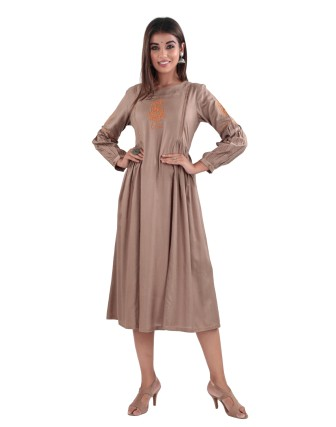 SUTI RAYON EMBROIDERED LONG DRESS, BEIGE