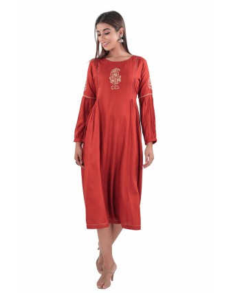 SUTI RAYON EMBROIDERED LONG DRESS, RUST