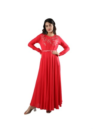 SUTI WOMENS PITTAN WORK RAYON STAPLE EMBROIDED LONG DRESS, CORAL