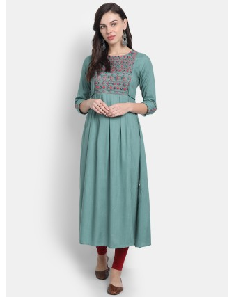 Suti Womens Rayon Slub Embroidery Flared Dress Beryl Green