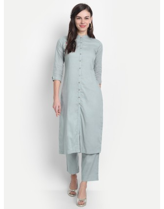 Anagh Womens Rayon Modal Party Wear Kurta Set Gray