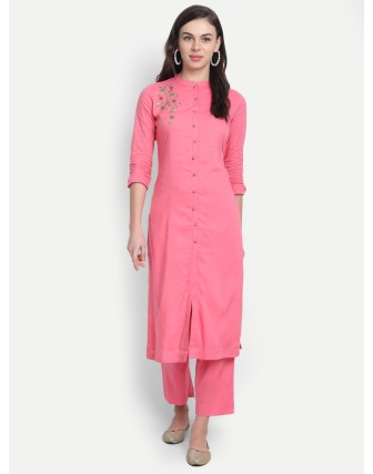 Anagh Womens Rayon Modal Party Wear Kurta Set Pink
