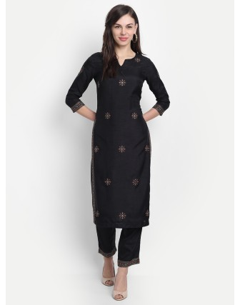 Anagh Womens Dola Silk Embridered Kurta Set Black