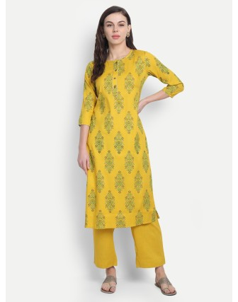 Suti Womens Rayon Slub Printed Long Kurti Empire Yellow