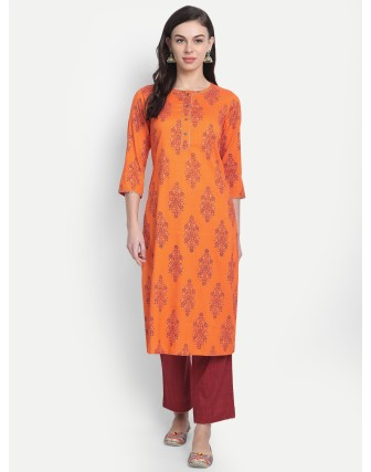 Suti Womens Rayon Slub Printed Long Kurti Persimmon Orange