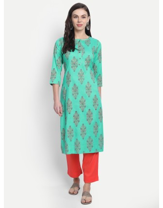Suti Womens Rayon Slub Printed Long Kurti Pool Green