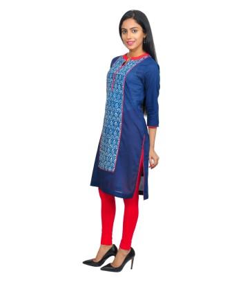 Suti Womens Cotton Kurti, Indigo Mustered