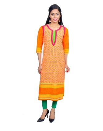 Suti Womens Cotton Kurti, Orange Yellow