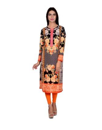 Suti Womens Cotton Kurti, Orange-Black