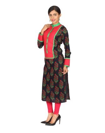 Suti Womens Cotton Cambric Kurti, Black