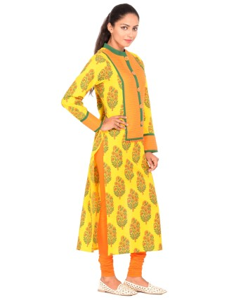 Suti Womens Cotton Cambric Kurti, Yellow