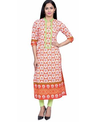 Suti Womens Cotton Kurti, Orange
