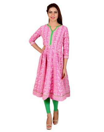 Suti Womens Cotton Anarkali Kurti, Pink
