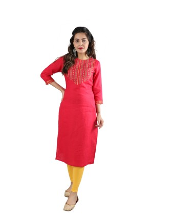 SUTI WOMENS LINEN EMBROIDED LINEN KURTI, FRENCH ROSE