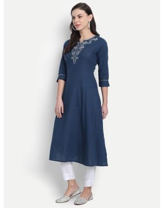 Suti Womens Cotton Slub Embroidered A Line Kurti Legion Blue
