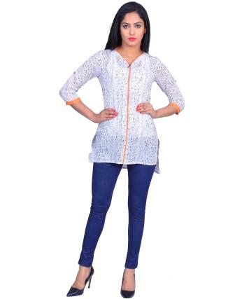 Suti Womens Cotton Girls Top, Off White-Orange