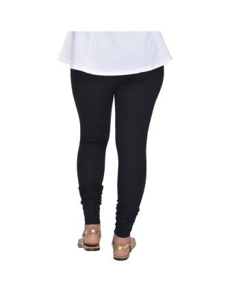 Suti Womens Plain Churidhar Leggings, Black