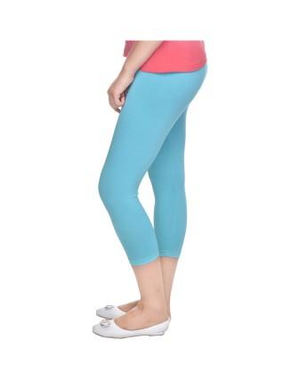 Suti Womens Plain 3/4 Length Leggings, Bright Turquoise