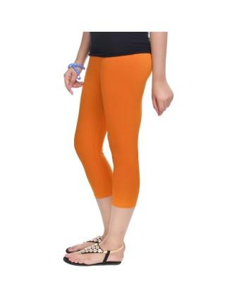 Suti Womens Plain 3/4 Length Leggings, Dark Orange