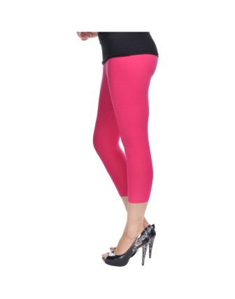 Suti Womens Plain 3/4 Length Leggings, Fuscia