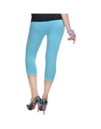 Suti Womens Plain 3/4 Length Leggings, Marine Blue