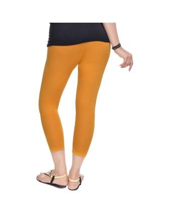 Suti Womens Plain 3/4 Length Leggings, Mustered