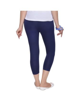 Suti Womens Plain 3/4 Length Leggings, Navy Blue
