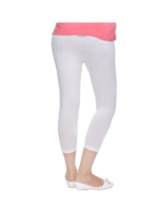 Suti Womens Plain 3/4 Length Leggings, Off White