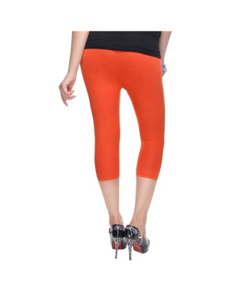 Suti Womens Plain 3/4 Length Leggings, Orange