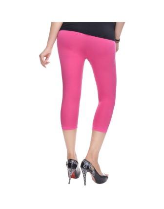 Suti Womens Plain 3/4 Length Leggings, Pink