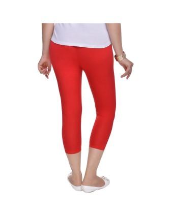 Suti Womens Plain 3/4 Length Leggings, Poppy Red